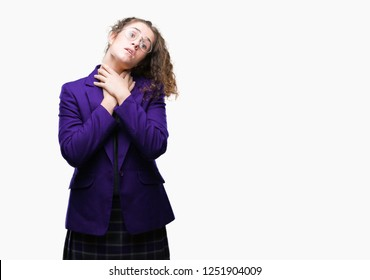 Young brunette student girl wearing school uniform and glasses over isolated background shouting and suffocate because painful strangle. Health problem. Asphyxiate and suicide concept.