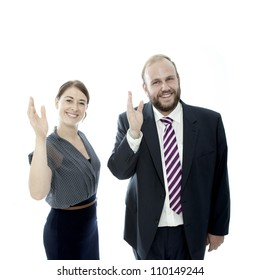 young brunette woman and beard business man waving