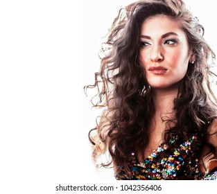 young brunette woman with curly hairstyle in fancy glamur dress