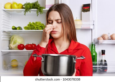 Young brunette woman with displeased expression smells spoiled soup in stew pan, feels musty smell at home kitchen, stands against refrigerator. Unpleasant stink. Housewife covers nose with disgust