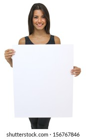 Young brunette woman holding a large white card