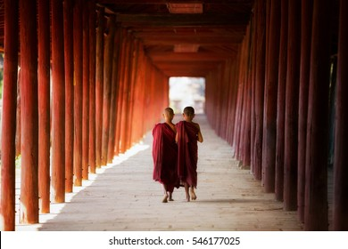 Young Buddhist monk, novic,  walking and reading in pagoda in Shin Bin Maha Laba Man Temple, Sa lay,Bagan, near Mandalay city, Myanmar.