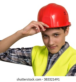 Young builder in vest and red helmet on a white background