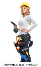 Young builder woman with a drill. Isolated over white background