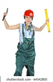 Young builder woman in uniform and red hardhat, holding level and harmer. Isolated over white background
