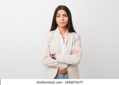 Young business arab woman isolated against a white background unhappy looking in camera with sarcastic expression.