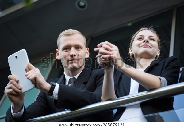 Young business couple having a break from work