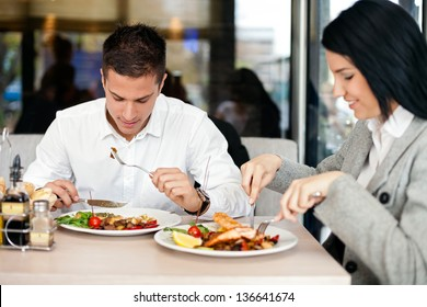 Young Business couple on lunch