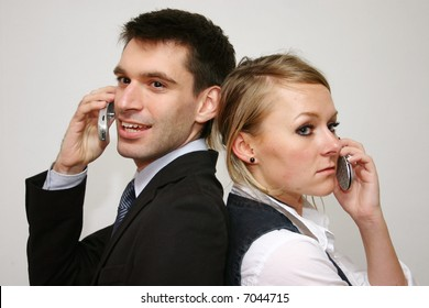 young business couple on the phone