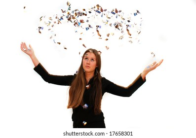 Young business girl throws out paper slices
