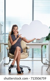 Young business lady holding paper cloud