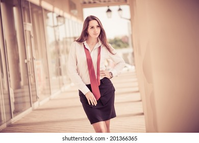 young business lady portrait at urban background