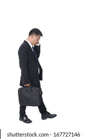 young business man with briefcase on white background