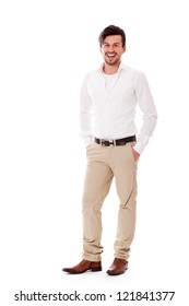 young business man in casual outfit smiling isolated on white background
