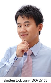Young Business man confident smile face isolated on white background, model is a asian