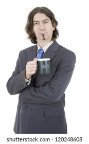 young business man with a cup of milk, isolated