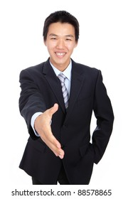 Young Business man handshake isolated on white background