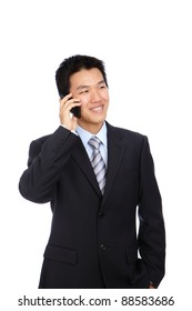 Young Business Man happy Speaking mobile phone, isolated on white background