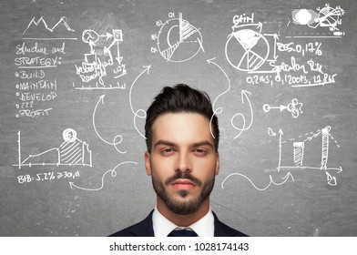 young business man and his thoughts about planning