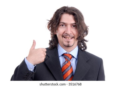 Young business man with his thumbs up