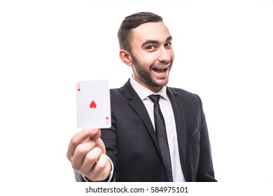 Young business man holding an ace on white