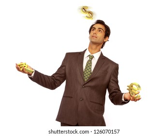 young business man juggling with different currency