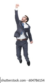 Young business man jumping in the air and cheering loud. isolate