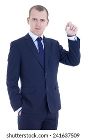 young business man with key in hand  isolated on white background