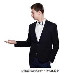 young business man with outstretched hand isolated on white background