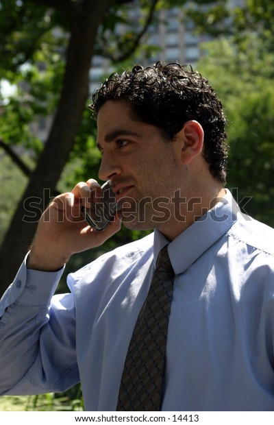 young business man in park