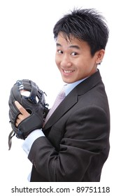 Young Business Man pitching baseball on isolated white background