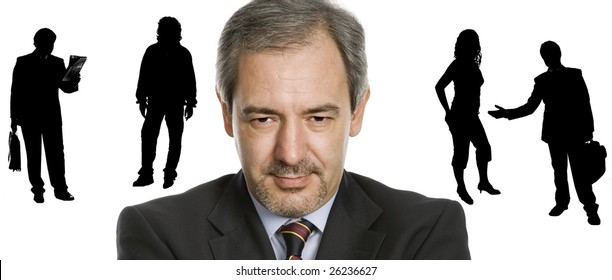 young business man portrait with people silhouettes