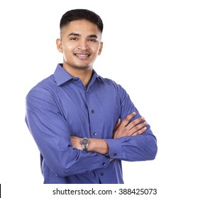 young business man posing on white isolated background