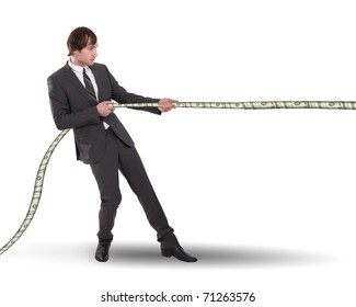 young business man pulling the rope out of banknotes. Collage.