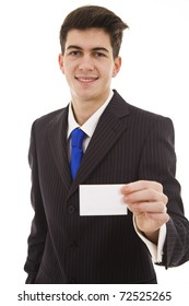 Young business man showing off his blank business card that is ready for text