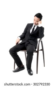Young Business Man Sleeping On Chair