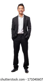 young business man standing isolated on white background