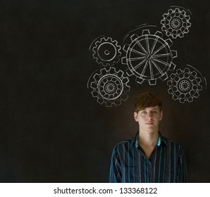 Young business man, student or teacher thinking with turning gear cogs or gears