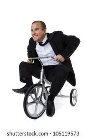 Young Business Man Suit Helmet Motorbike