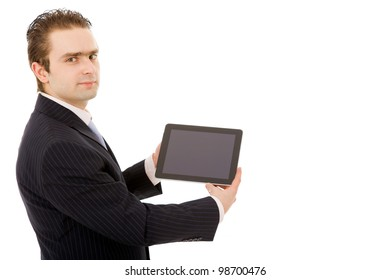 Young business man with tablet pc. Isolated over white background