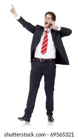Young business man talking on the mobile phone, over white
