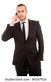 young business man talking on mobil phone, isolated on white