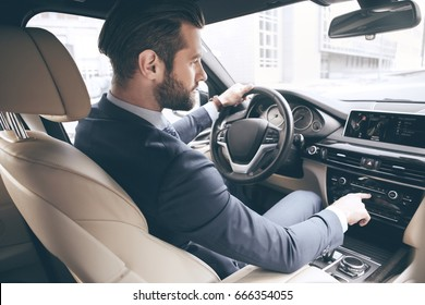 Young business man test drive new car