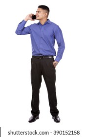 young business man using cellphone on white isolated background