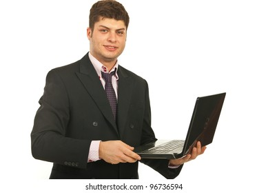Young business man using laptop isolate don white background