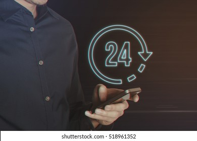 Young Business Man Using Smartphone with 24 Hours Icon on Light Motion Background and Lens Flare - Digital 3d Effect Style Color