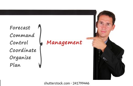Young business man at white board showing management skill and responsibility