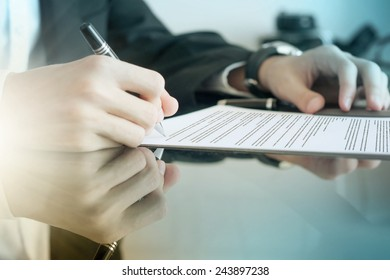 Young business man working with documents