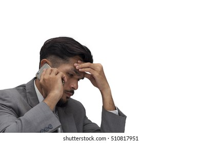 Young business man Worried to worker on white background,business to mistake,Feeling exhausted,