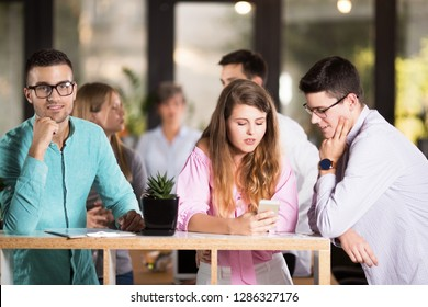 Young business people in cafe